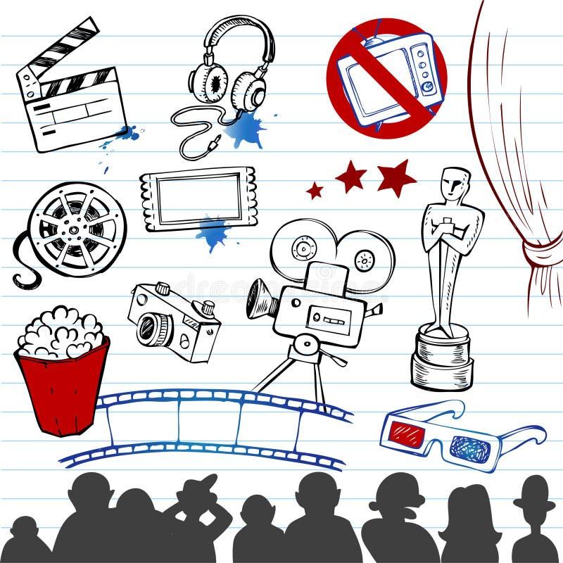 Doodles do cinema ilustração do vetor