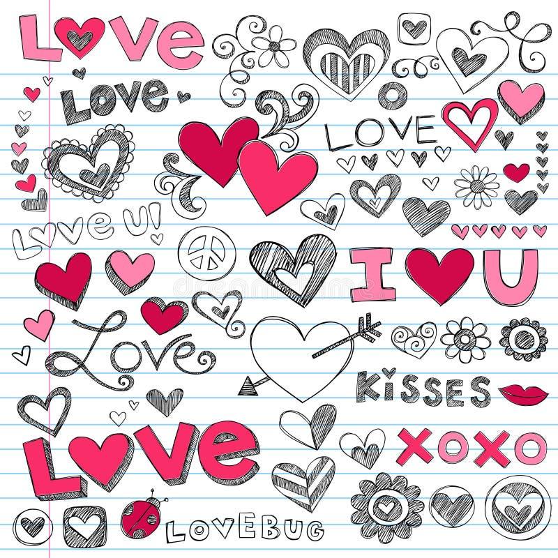 Doodles do dia do Valentim dos corações do amor ilustração do vetor