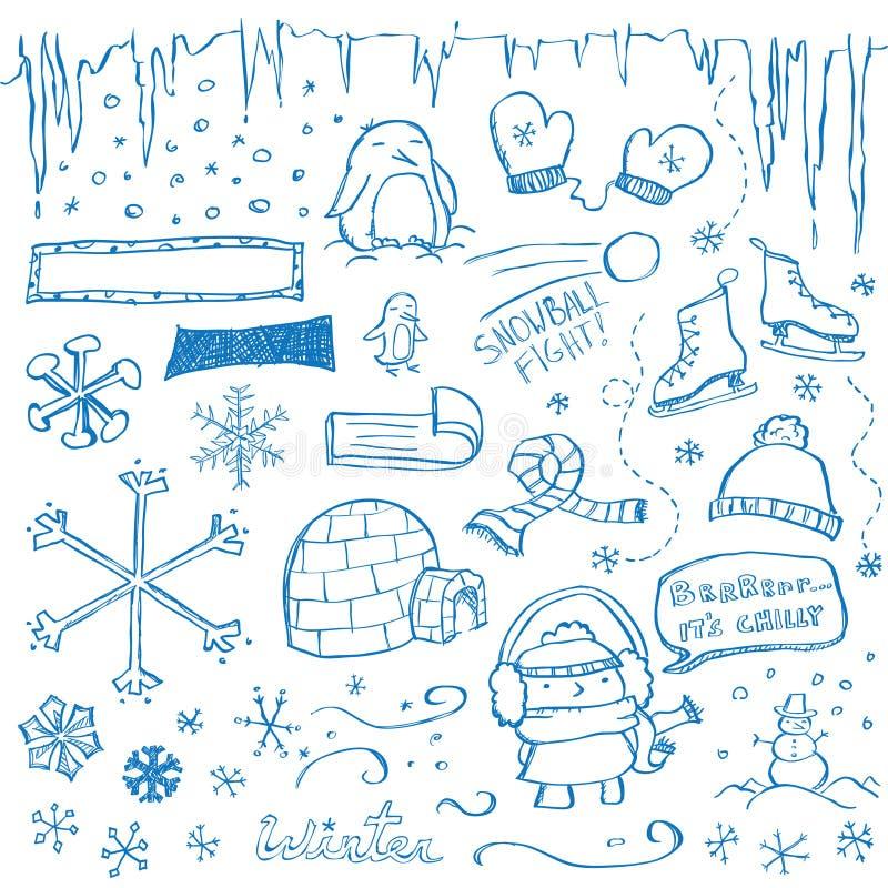 Doodles do inverno ilustração stock