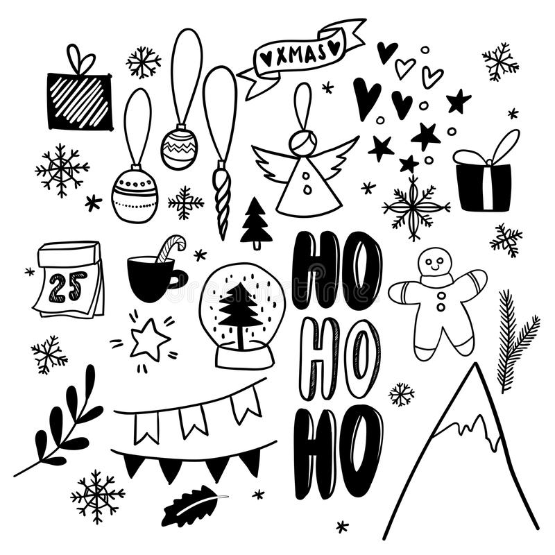 Doodles do Natal Ícones tirados mão do vetor Etiquetas scrapbooking do Xmas e do ano novo Presente, globo da neve, montanha ilustração do vetor