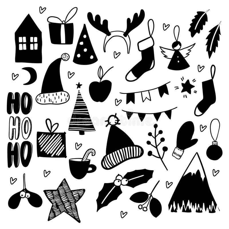 Doodles do Natal Ícones tirados mão do vetor Xmas, etiquetas scrapbooking do ano novo Árvore de Chrirstmas, festão, peúgas ilustração do vetor