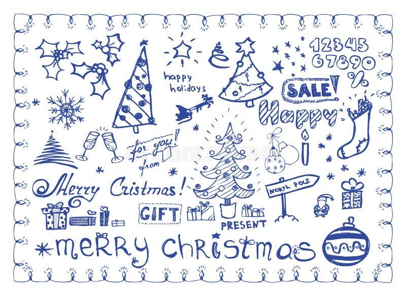 Doodles do Natal/ilustrações do vetor ajustadas ilustração stock