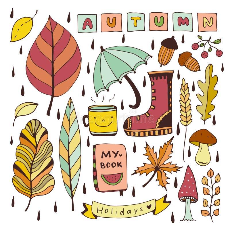 Doodles do outono Elementos isolados para etiquetas ou remendos Ilustração do vetor do projeto dos artigos de papelaria ilustração stock