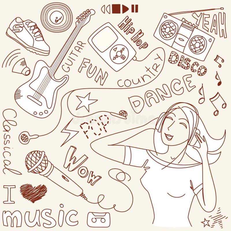Doodles do vetor da música ilustração royalty free