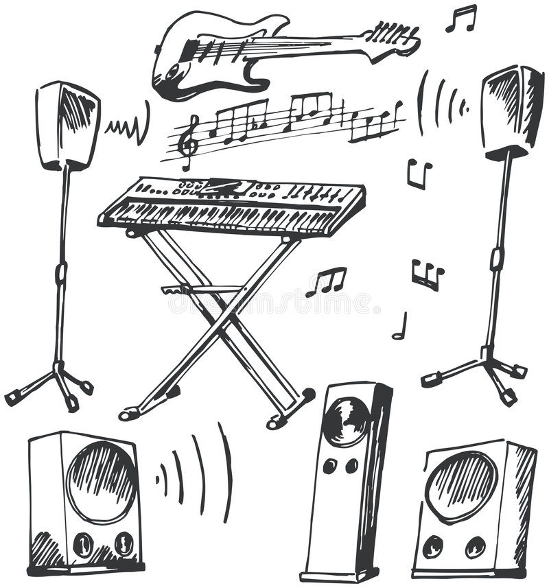 Doodles dos instrumentos musicais e dos altifalante ilustração do vetor