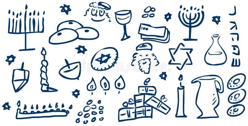 Doodles dos símbolos de Hanukkah ilustração royalty free