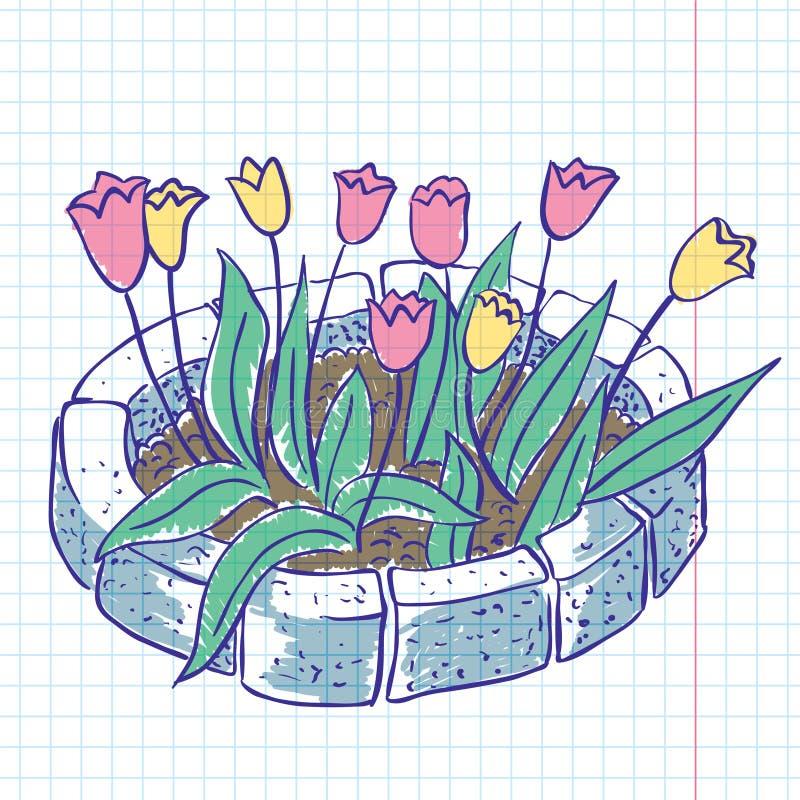 Doodles dos Tulips ilustração stock