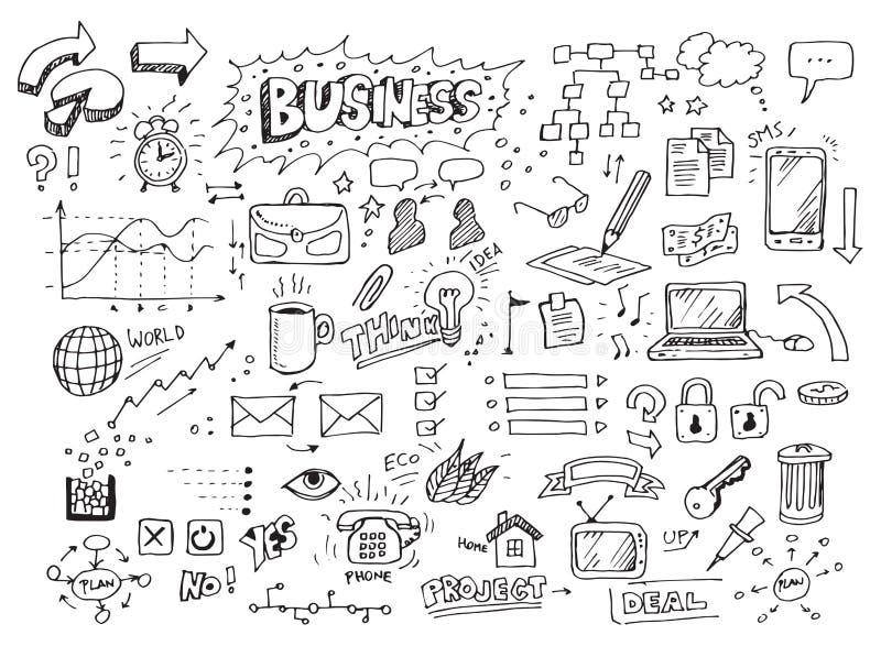 Doodles drenados mano del asunto stock de ilustración
