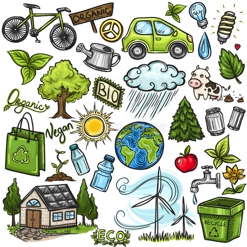 Doodles eco icon set stock illustration
