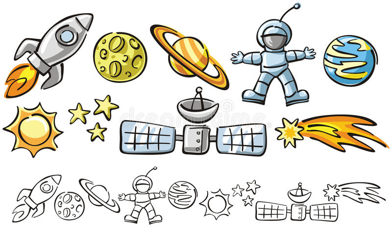 Doodles - elementos do espaço ilustração do vetor