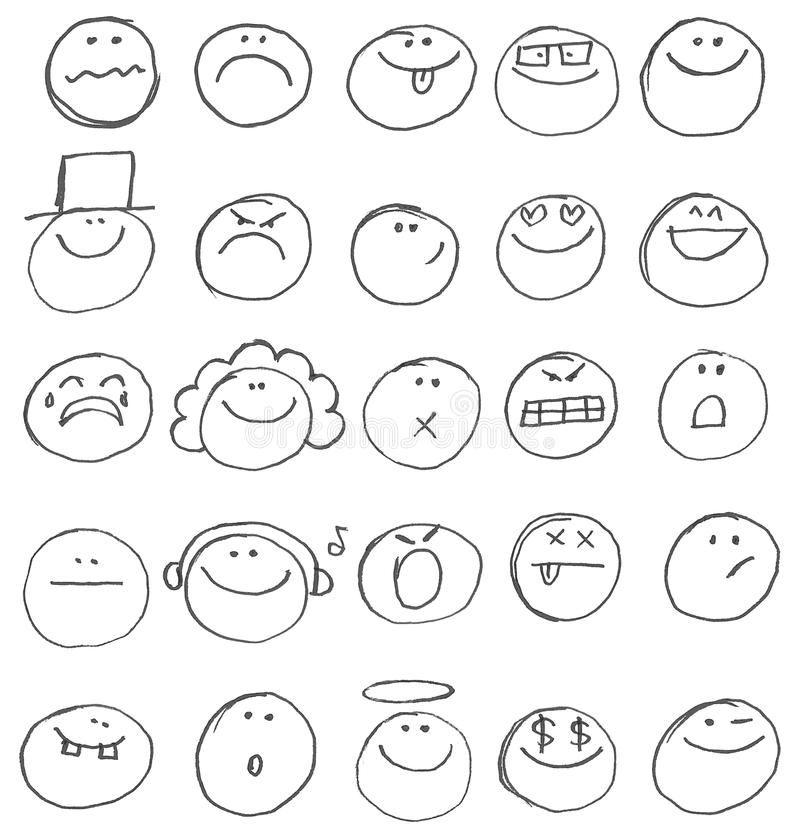 Doodles Emoticon иллюстрация штока