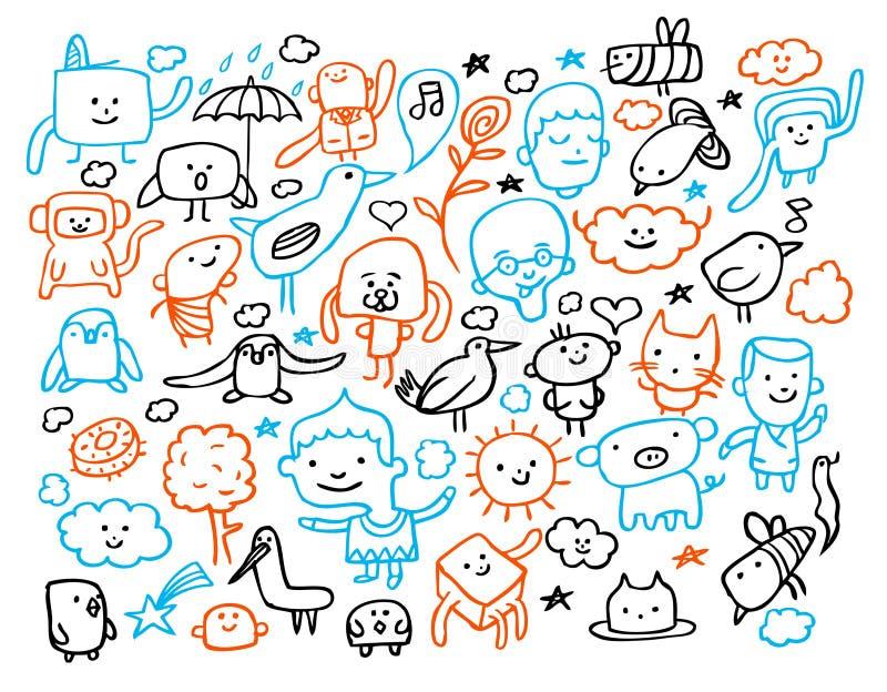 Doodles engraçados ilustração stock