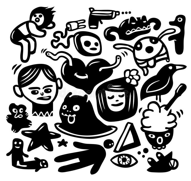 Doodles engraçados ajustados ilustração do vetor