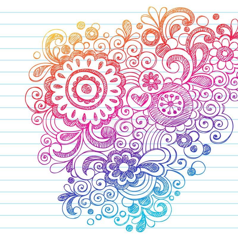 Doodles esboçado abstratos Hand-Drawn da flor ilustração stock