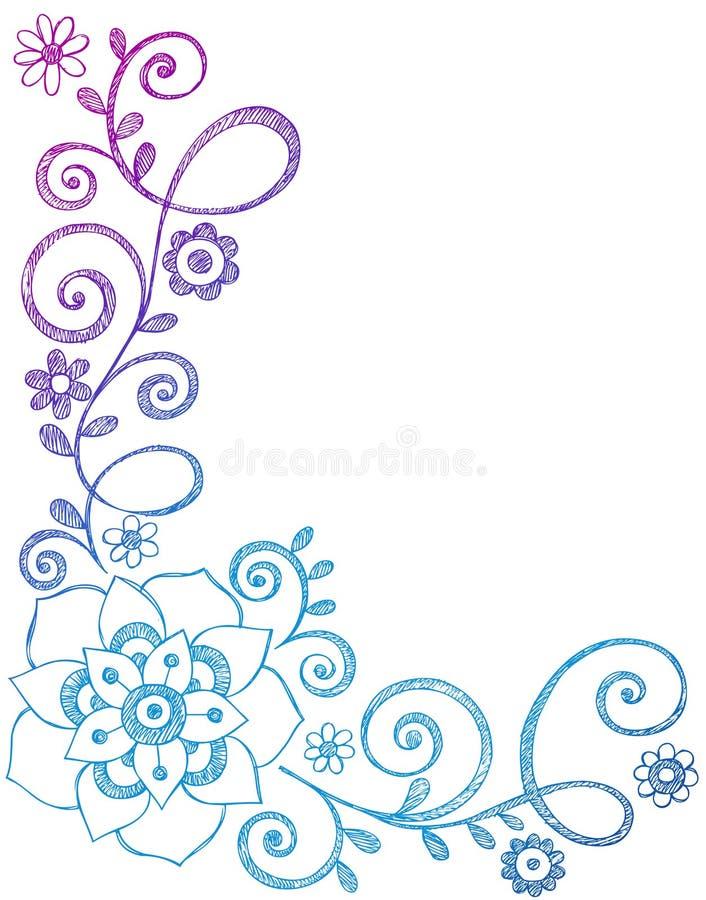 Doodles esboçado do caderno da flor e da beira das videiras ilustração stock