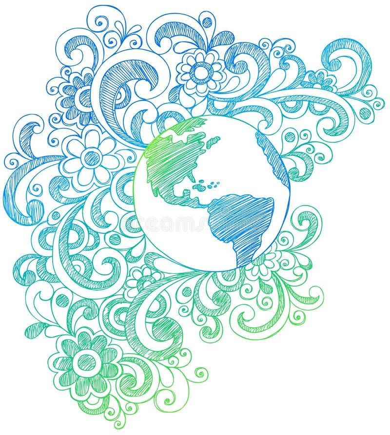 Doodles esboçado do caderno da terra do planeta ilustração stock