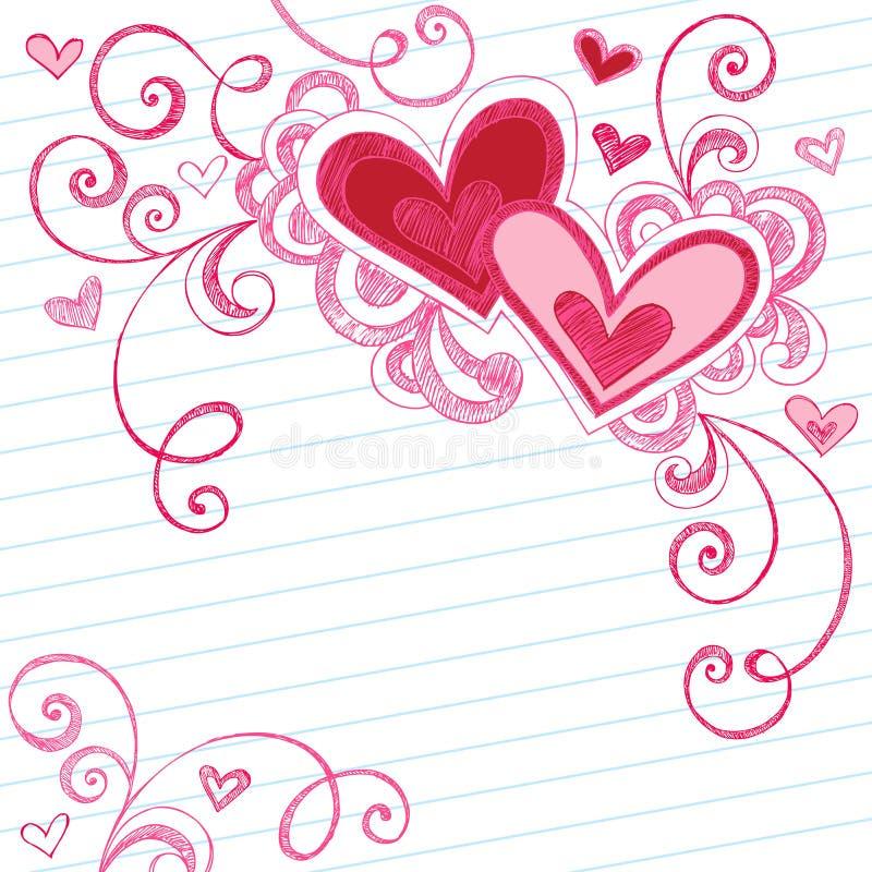 Doodles esboçado do caderno dos corações no papel alinhado ilustração royalty free