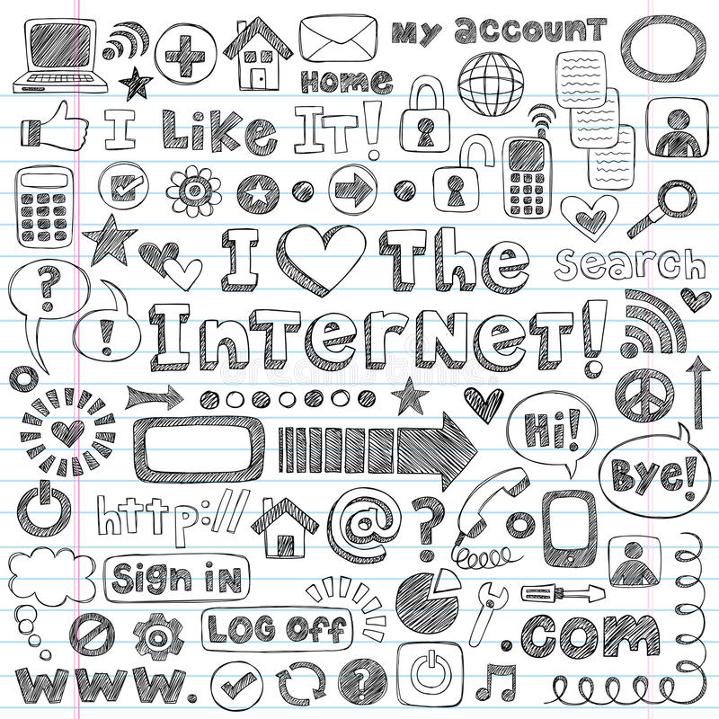 Doodles esboçado do computador do ícone do Web do Internet ajustados ilustração do vetor