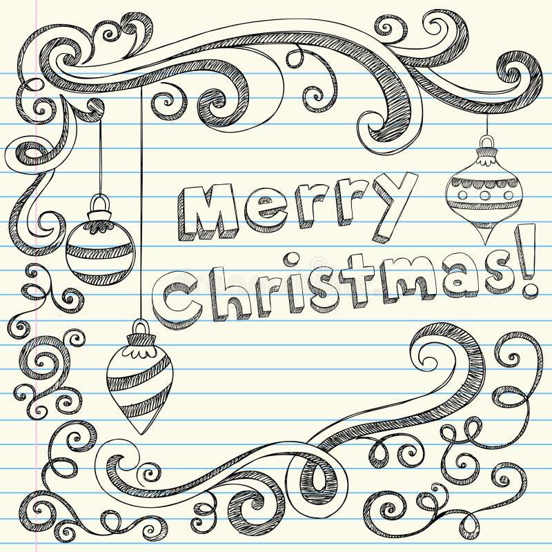 Doodles esboçado Hand-Drawn do Feliz Natal ilustração royalty free