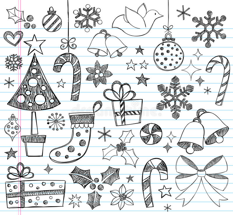 Doodles esboçado Hand-Drawn do Natal ilustração stock