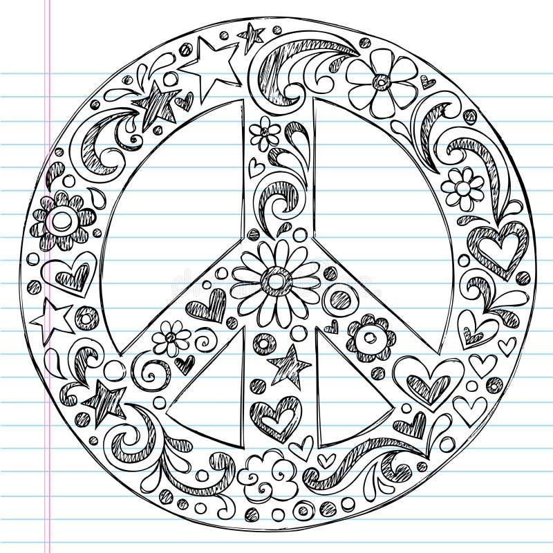 Doodles esboçado Hand-Drawn do sinal de paz ilustração stock