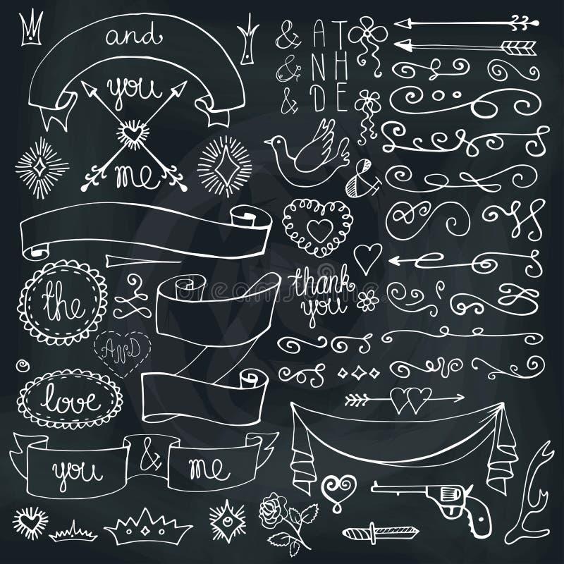 Doodles faborki, odznaki, strzała, wystroju element Miłość royalty ilustracja