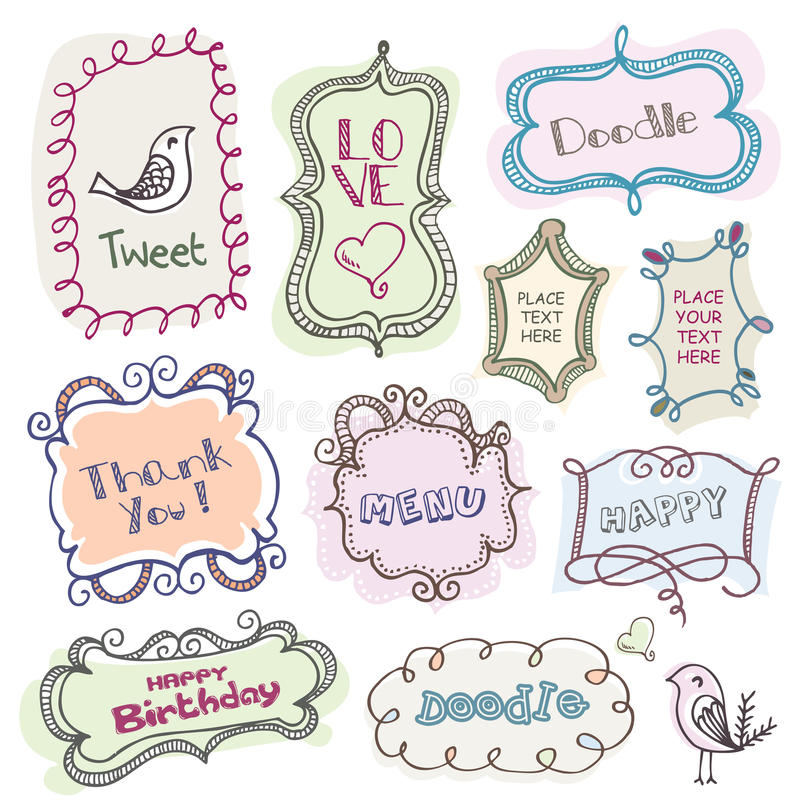 Download Doodles frames stock vector. Image of gift, invitation - 18505174
