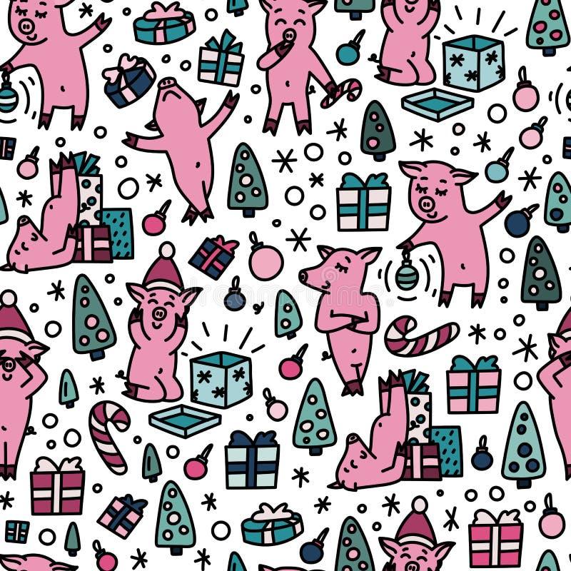 Doodles funnny świni bezszwowego kolorowego wzór Symbol 2019 nowy rok wakacji tło royalty ilustracja