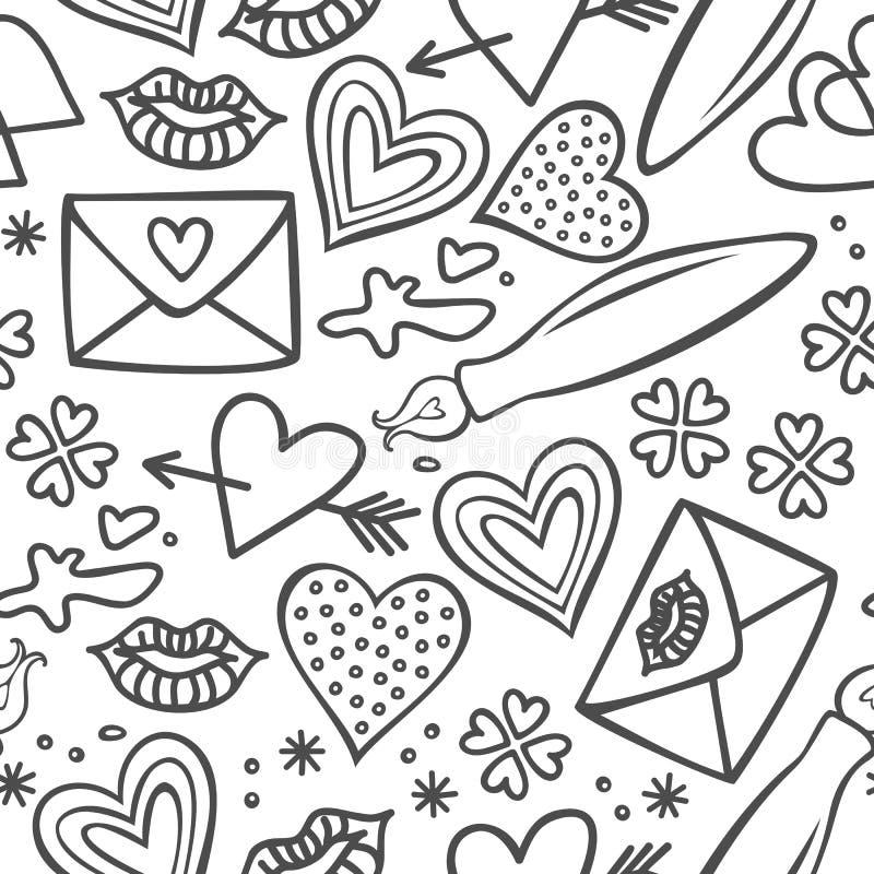 Doodles grises dibujados mano del amor en blanco libre illustration
