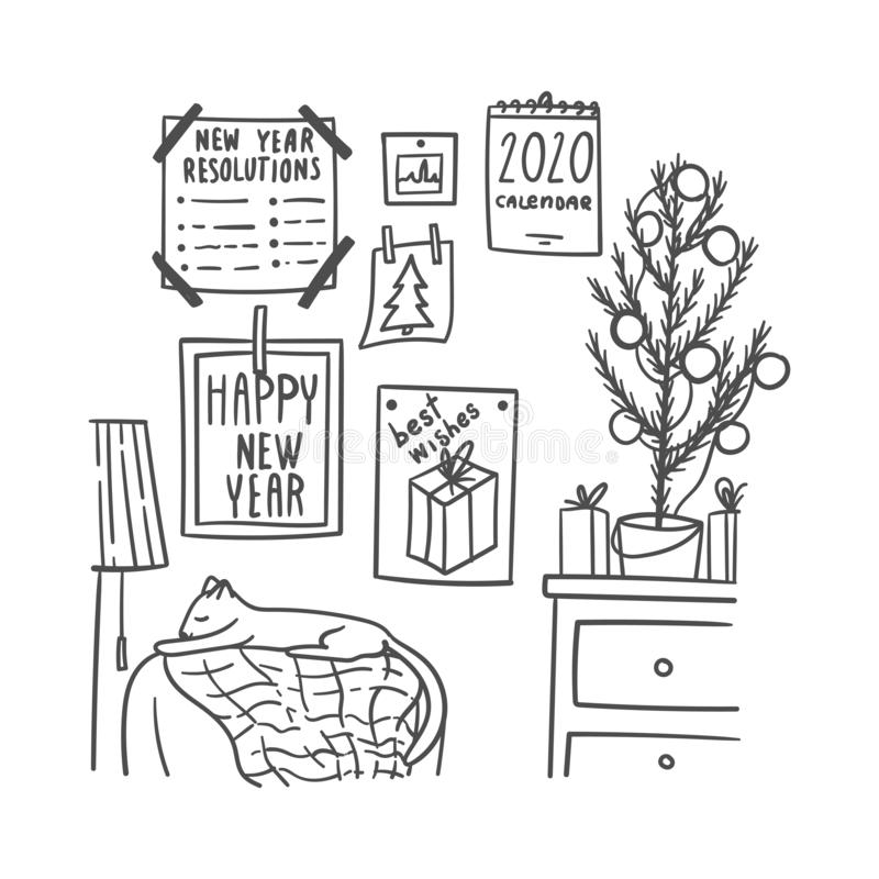 Doodles hand drawn room with winter holidays decoration, such as fir-tree, calendar, cards, new year resolutions vector illustration