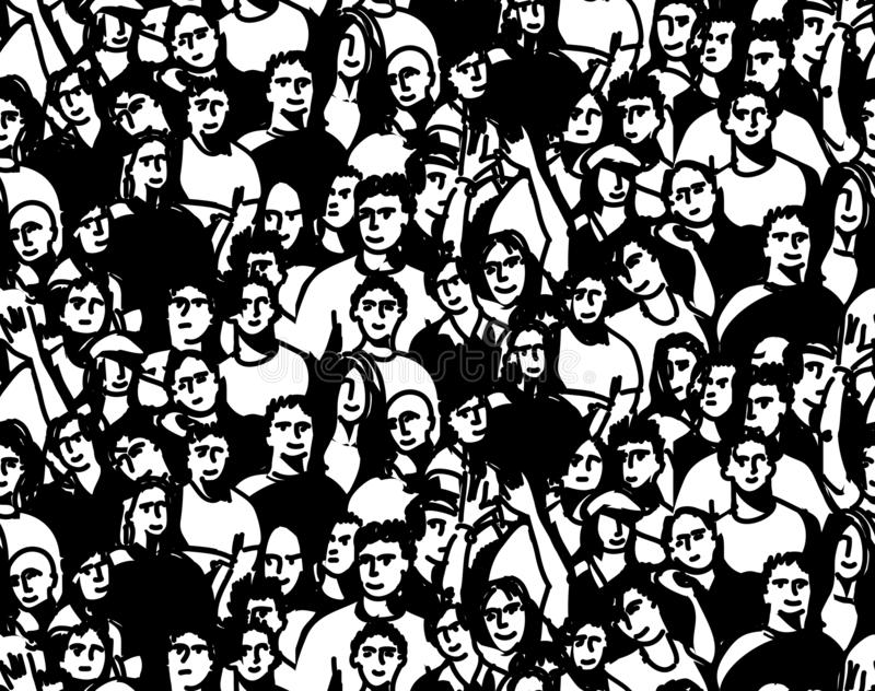 Doodles happy crowd people audience black and white seamless pattern stock illustration