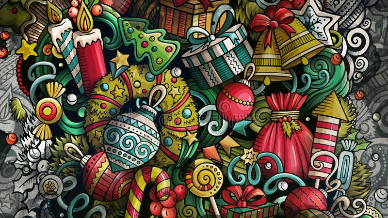 Doodles Happy New Year graphics illustration. Creative Merry Christmas art background. royalty free stock photography