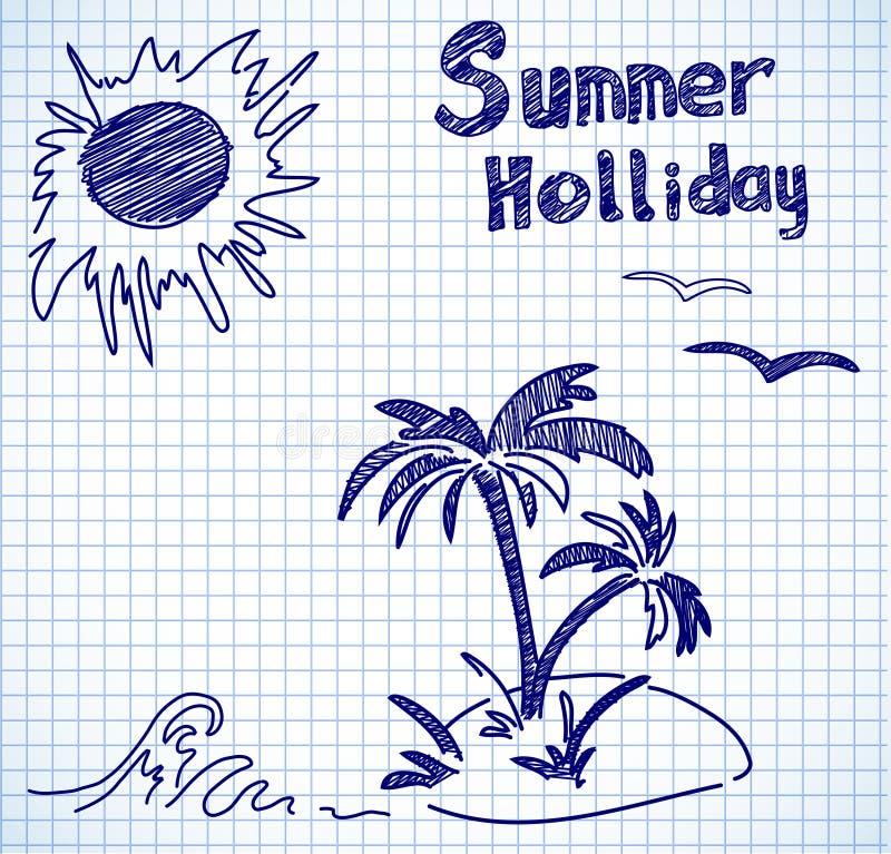 doodles holliday καλοκαίρι διανυσματική απεικόνιση