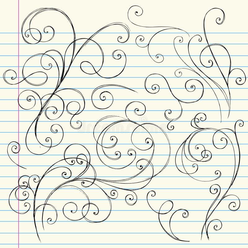 Doodles imprecisi del taccuino di turbinii illustrazione vettoriale