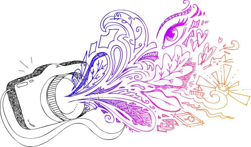 Doodles incompletos de la cámara de la foto ilustración del vector