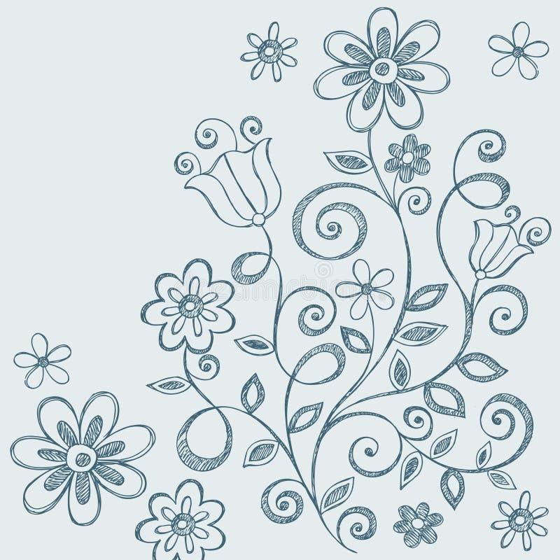 Doodles incompletos del cuaderno de las flores stock de ilustración