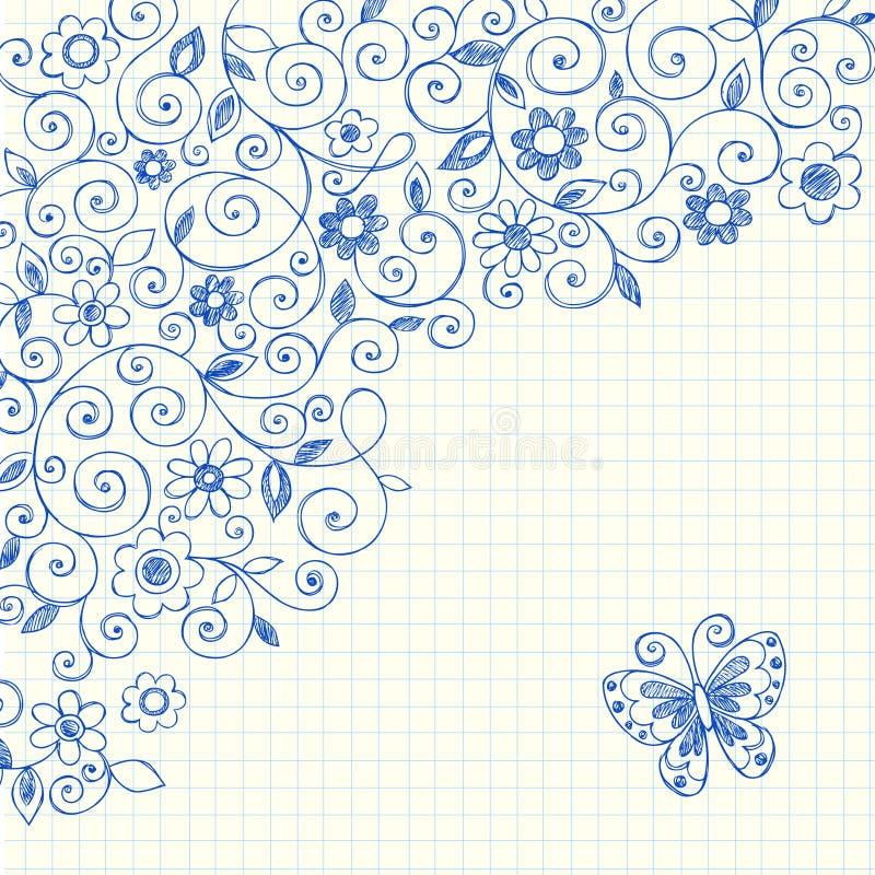 Doodles incompletos del cuaderno de las vides en el papel de gráfico ilustración del vector