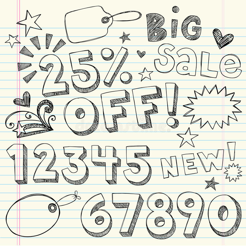 Doodles incompletos a mano de la cupón de la venta ilustración del vector