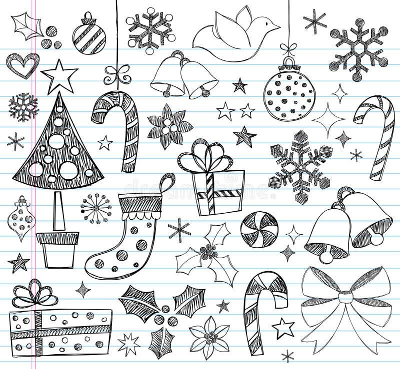 Doodles incompletos a mano de la Navidad stock de ilustración