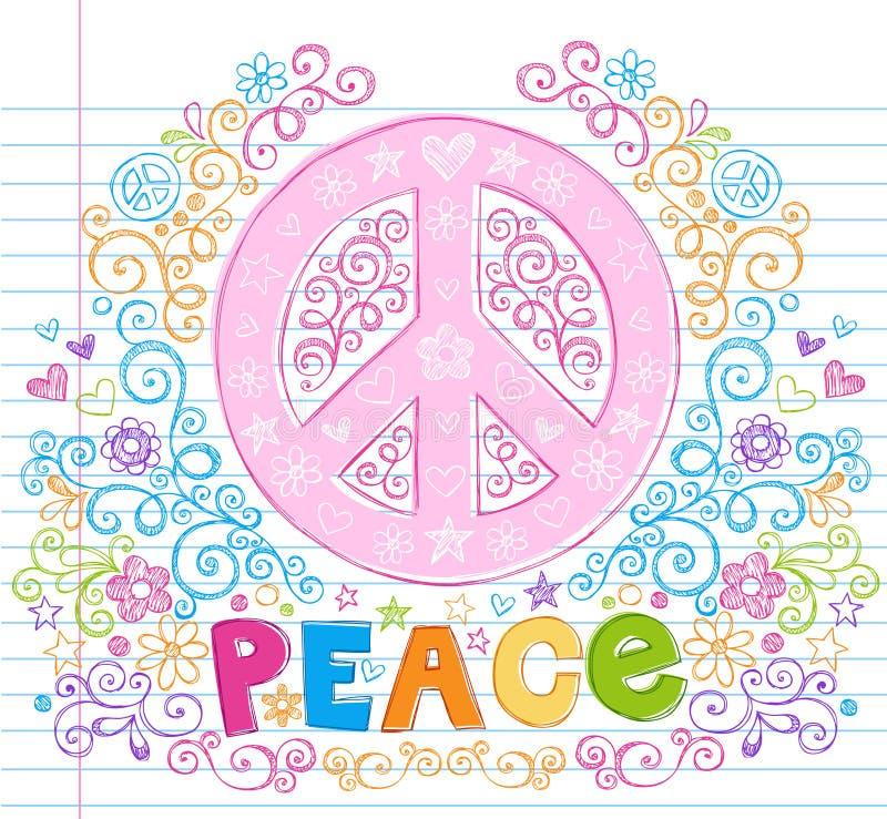 Doodles incompletos a mano del deletreado de la muestra de paz ilustración del vector