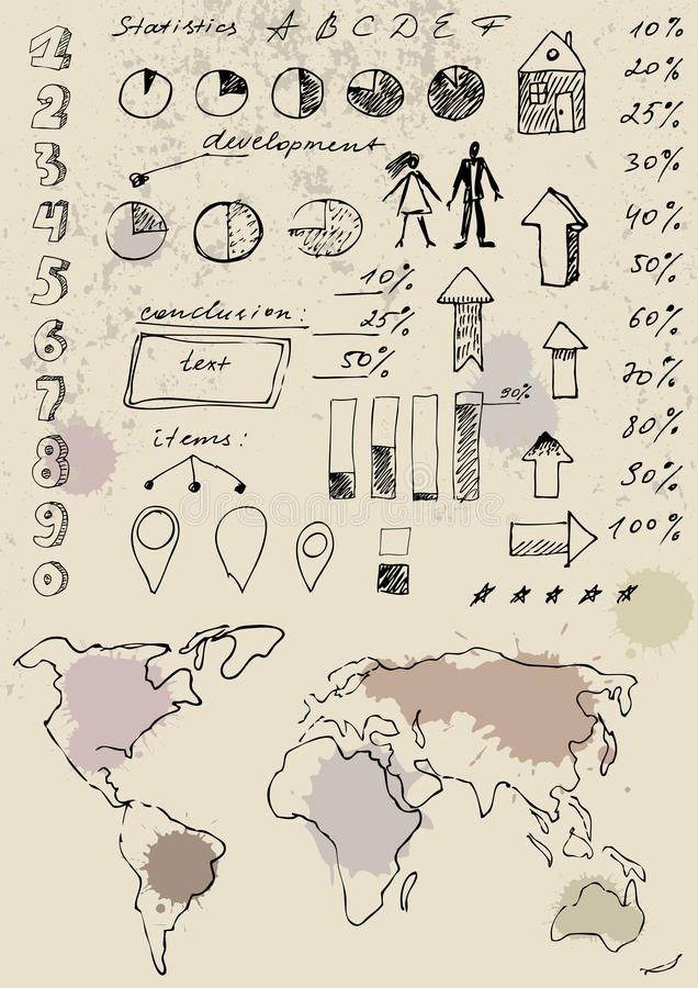 Doodles infographics set. royalty ilustracja