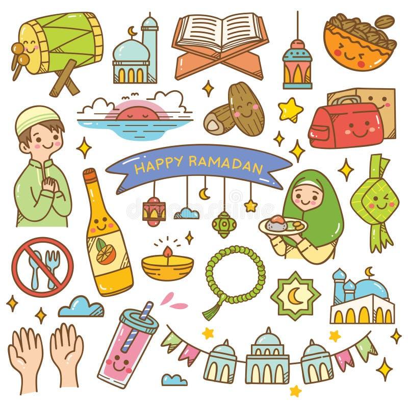 Doodles kawaii Рамазан иллюстрация штока