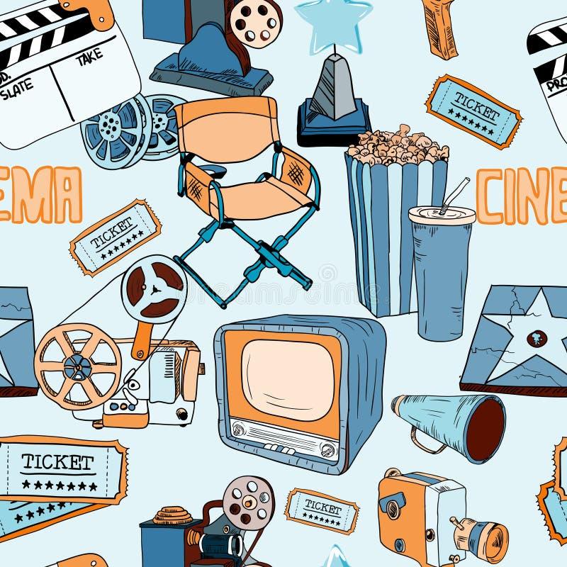 Doodles koloru kinowy seamless_SimilarS royalty ilustracja
