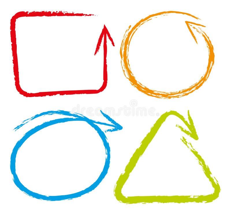 Doodles line in four color vector illustration