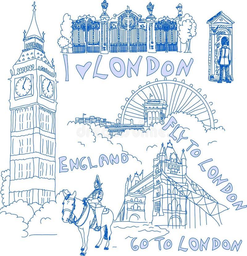 doodles London set royalty ilustracja
