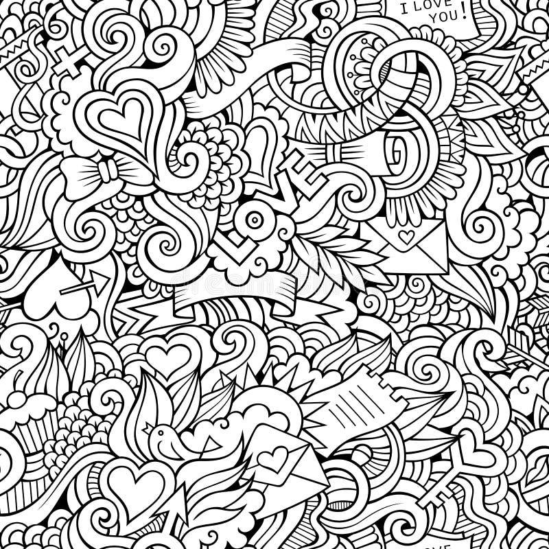Doodles miłości wektorowy szkicowy bezszwowy wzór royalty ilustracja
