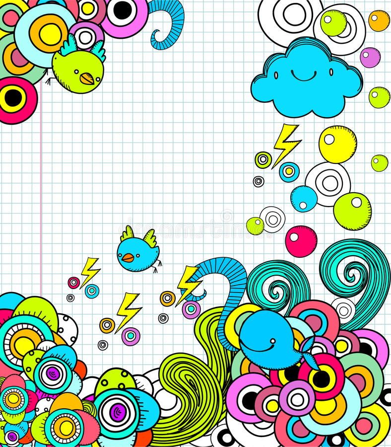 Doodles no caderno imagem de stock royalty free