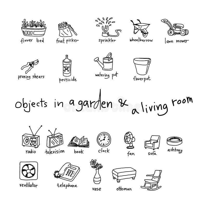 Download Doodles Of Objects In Garden And Living Room Stock Photo   Image:  56151072 Part 36