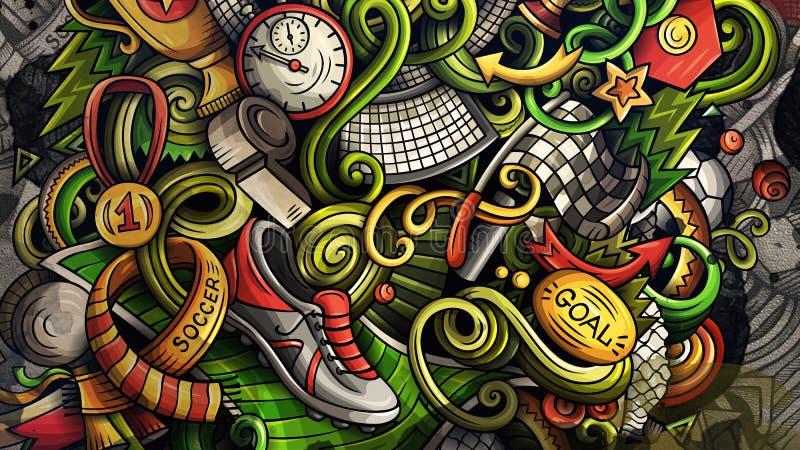 Doodles piłki nożnej grafika ilustracyjne royalty ilustracja