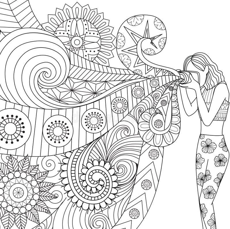 Doodles projekt fotograf dziewczyna bierze fotografię dla kolorystyki książki dla dorosłego ilustracja wektor